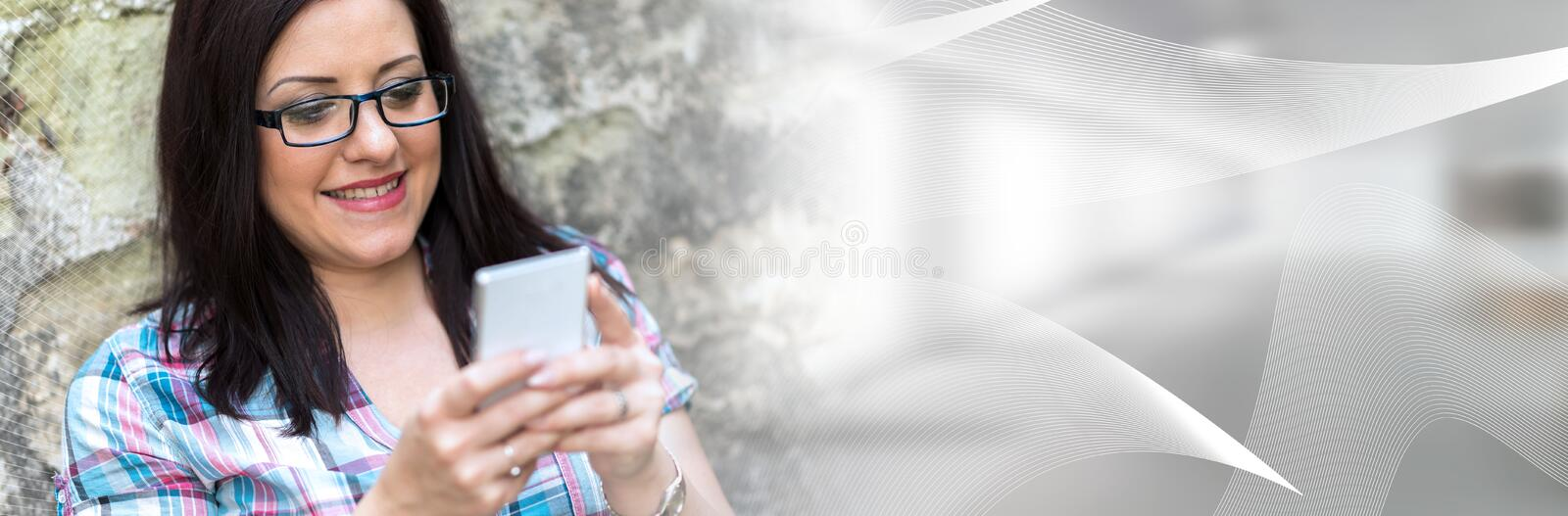 Portrait of beautiful young woman using phone; panoramic banner stock photos
