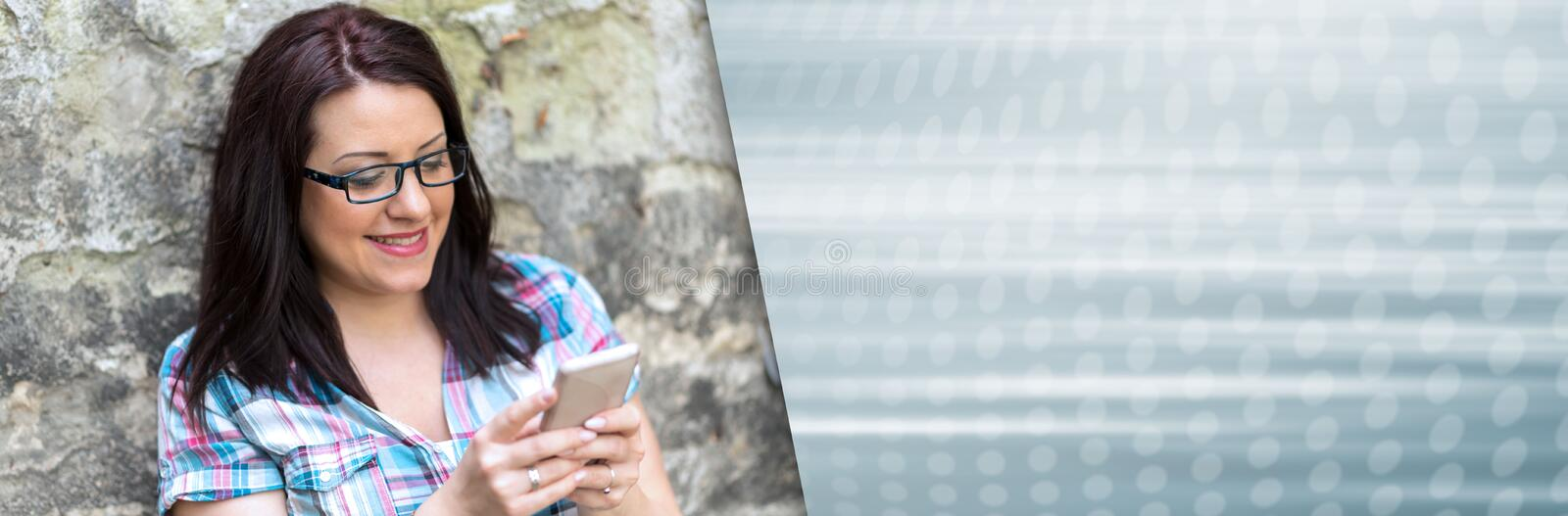 Portrait of beautiful young woman using phone. panoramic banner stock image