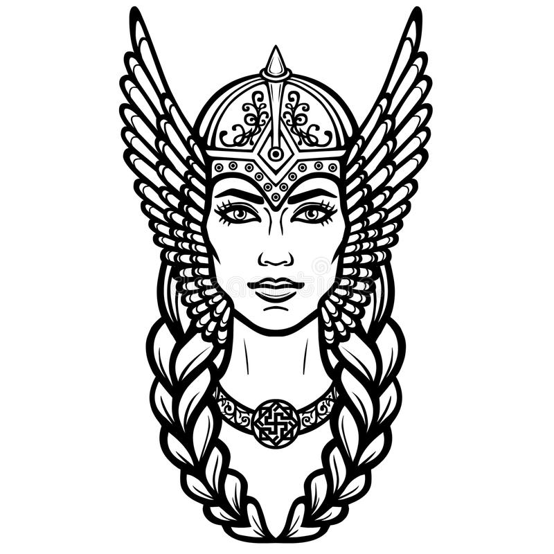 Portrait of the beautiful young woman Valkyrie. Pagan goddess, mythical character. royalty free illustration