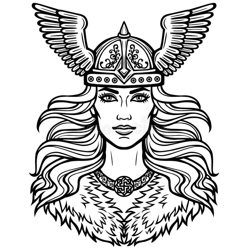 Portrait of the beautiful young woman Valkyrie in a winged helmet. Pagan goddess, mythical character. Linear black the white drawing. Vector illustration royalty free illustration