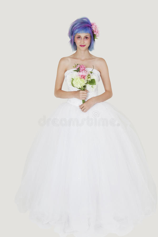 Download Portrait Of Beautiful Young Woman In Wedding Outfit With Dyed Hair Against Gray Background Stock Photo - Image: 30851878