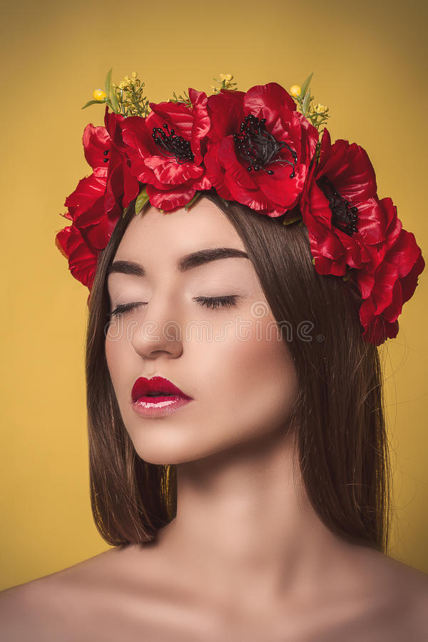 Portrait of Beautiful Young Woman with a wreath on royalty free stock photos