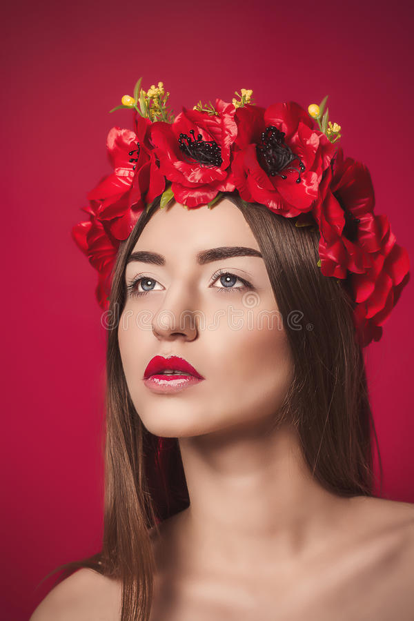 Portrait of Beautiful Young Woman with a wreath on royalty free stock image