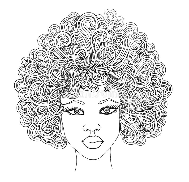 Portrait of beauty african women.Graphic style vector illustration