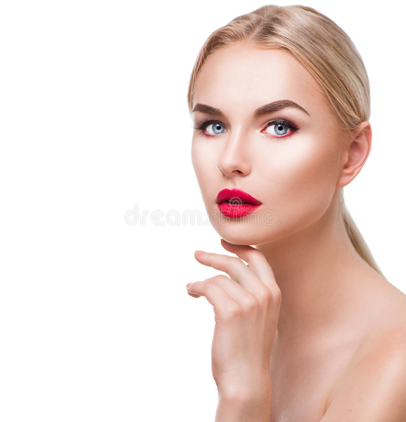 Portrait of beauty blonde girl with bright makeup stock photos