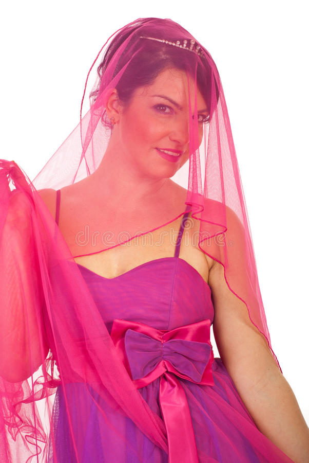 Download Portrait Of Beauty  Bride In Pink Stock Image - Image: 17393103