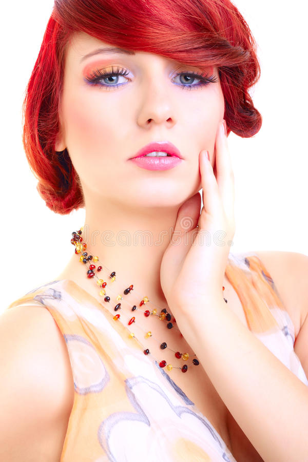 Portrait of beauty red hair woman, female model. Made in studio on white background royalty free stock images