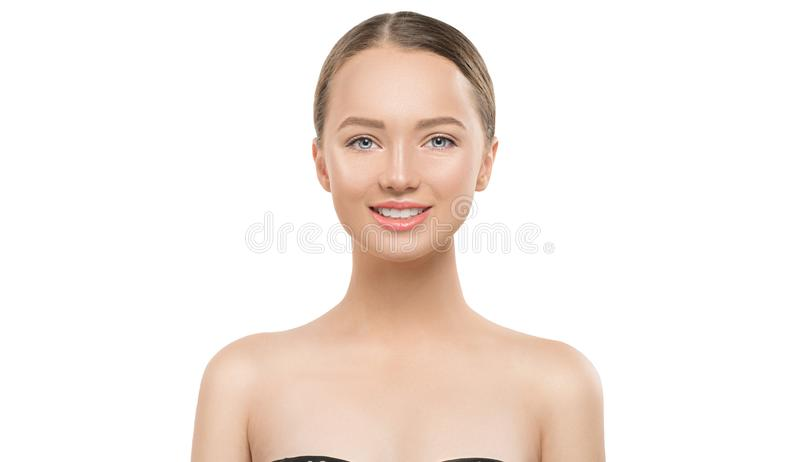 Portrait of beauty smiling young woman on white background. Beautiful spa girl with perfect fresh skin looking at camera. Cleansing, skincare concept. Front stock image