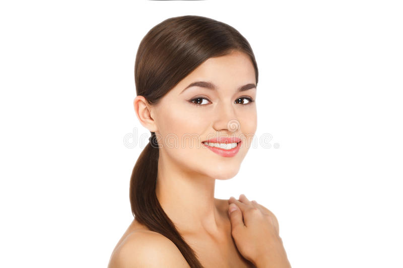 Portrait of beauty young woman cheerful with natural make-up royalty free stock images