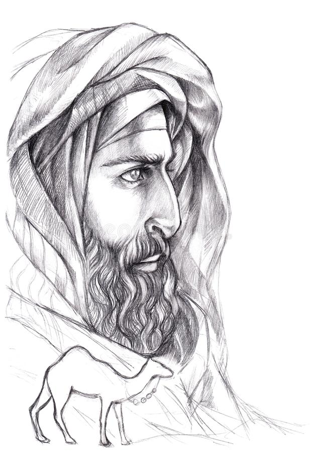 Portrait Bedouin, Arab with a beard in a turban. Sketch Portrait Bedouin, Arab with a beard in a turban with a camel vector illustration