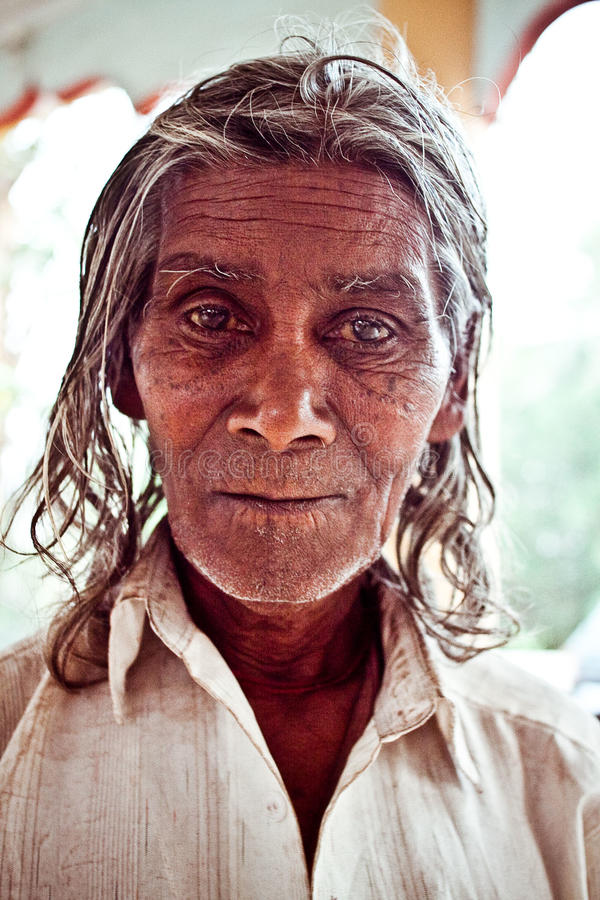 Portrait of a beggar in the temple royalty free stock photo