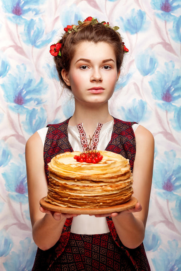 Portrait of beuty girl. With crepe stock image