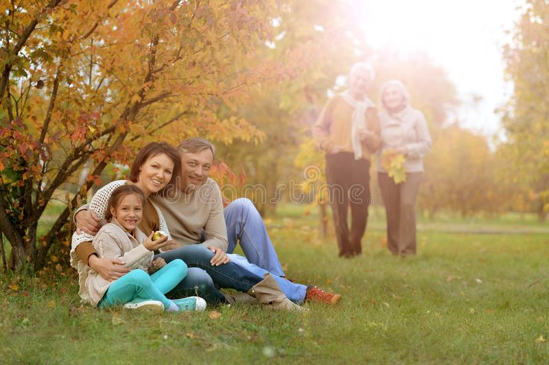 Portrait of big family resting on picnic in autumn park stock photos