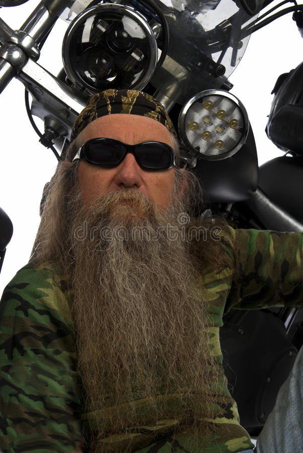 Portrait Of A Biker And His Ride Stock Images