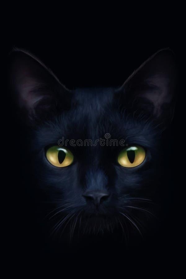 Portrait of a black cat. On a black background royalty free illustration