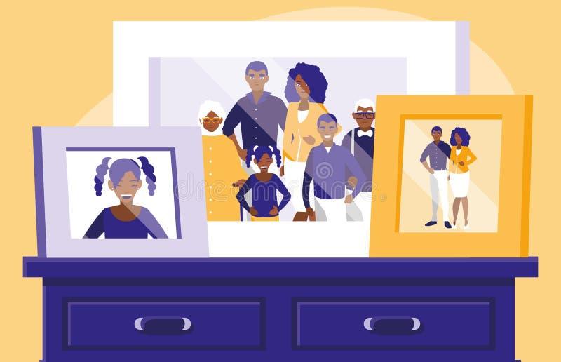 Portrait of black family picture in drawer. Vector illustration design stock illustration