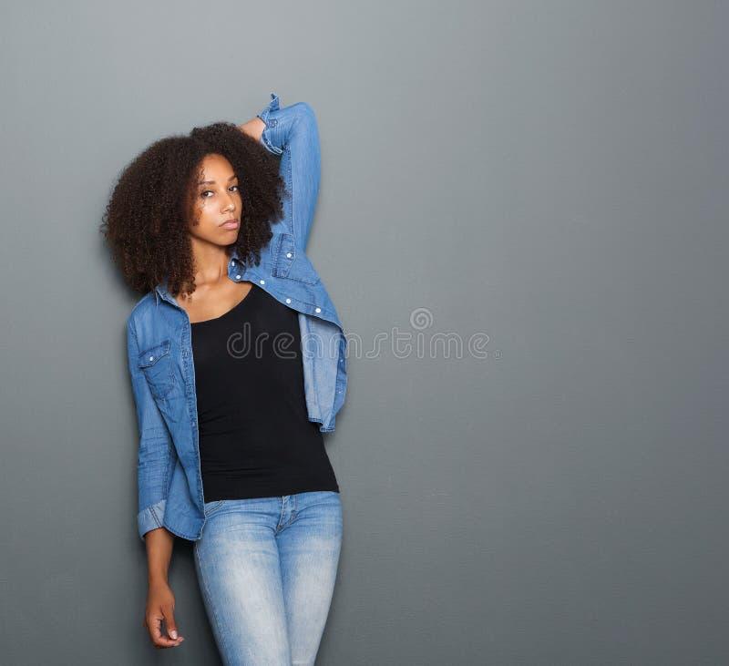 Portrait of a black female fashion model stock images