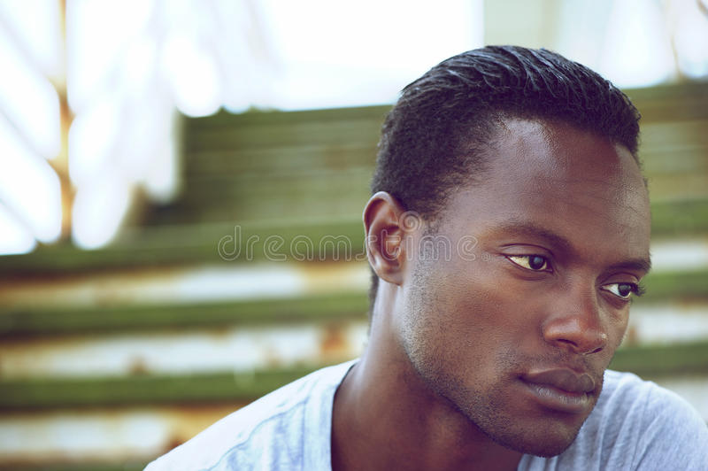 Portrait of a black man's face royalty free stock images
