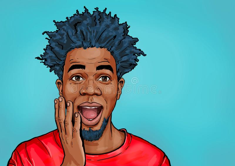 Portrait of black man says wow with open mouth to see something unexpected. Shocked guy with surprised expression. Emotions concept stock illustration