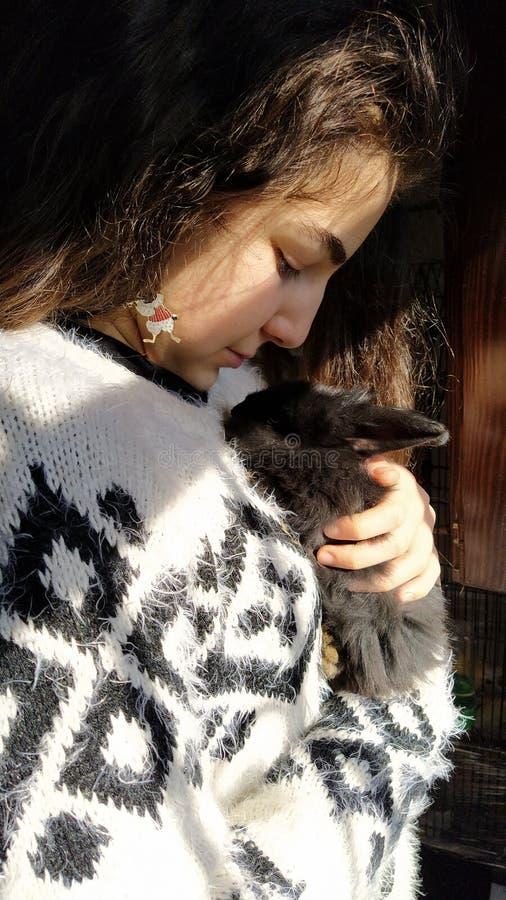 Rabbit and girl stock photos