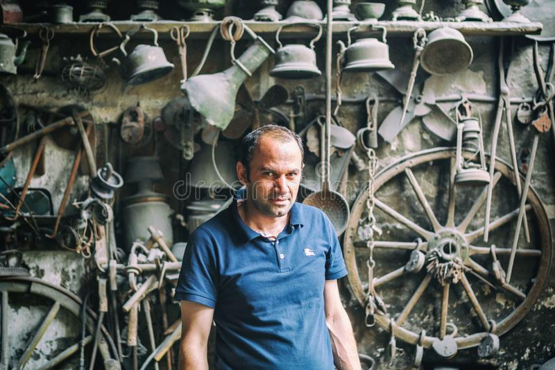 Portrait of Blacksmith from Lahic. Copper production and utensils in Lahiche - the center of handicraft production royalty free stock image
