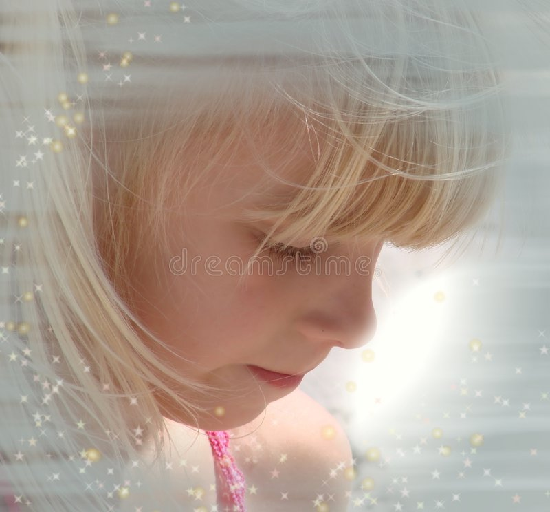 Portrait of blond little girl royalty free stock photos