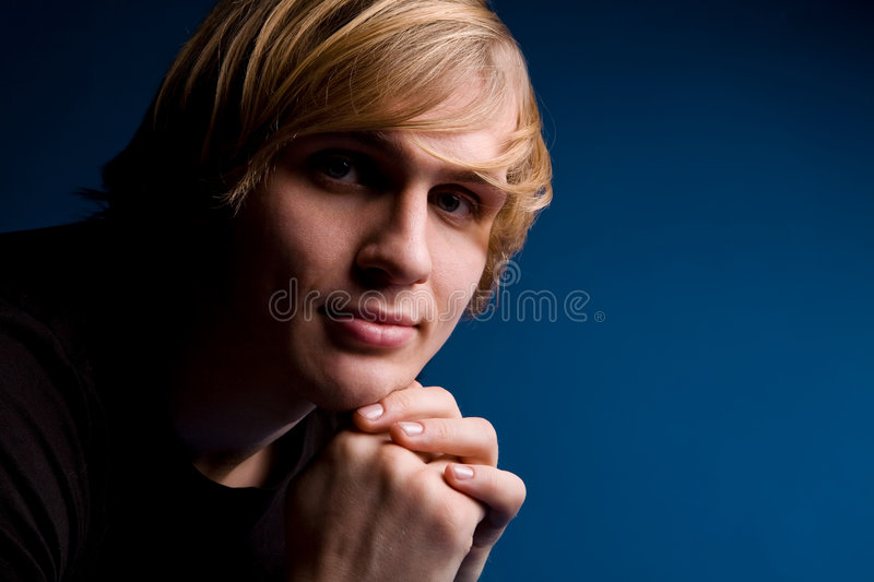 Download Portrait Of Blond Man Over Blue Background Stock Photo - Image of person, fair: 7988332