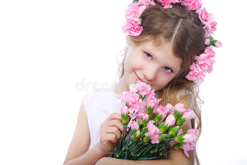 Portrait of blond small girl royalty free stock photography