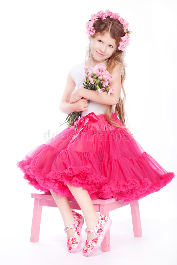Portrait of blond small girl royalty free stock images