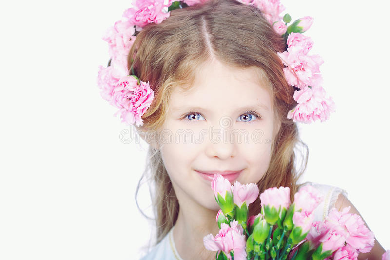 Portrait of blond small girl stock photography