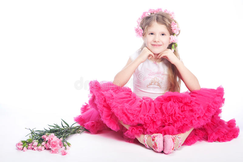 Portrait of blond small girl stock image