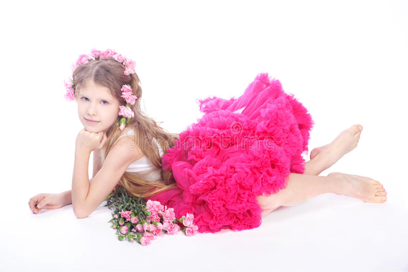 Portrait of blond small girl royalty free stock image
