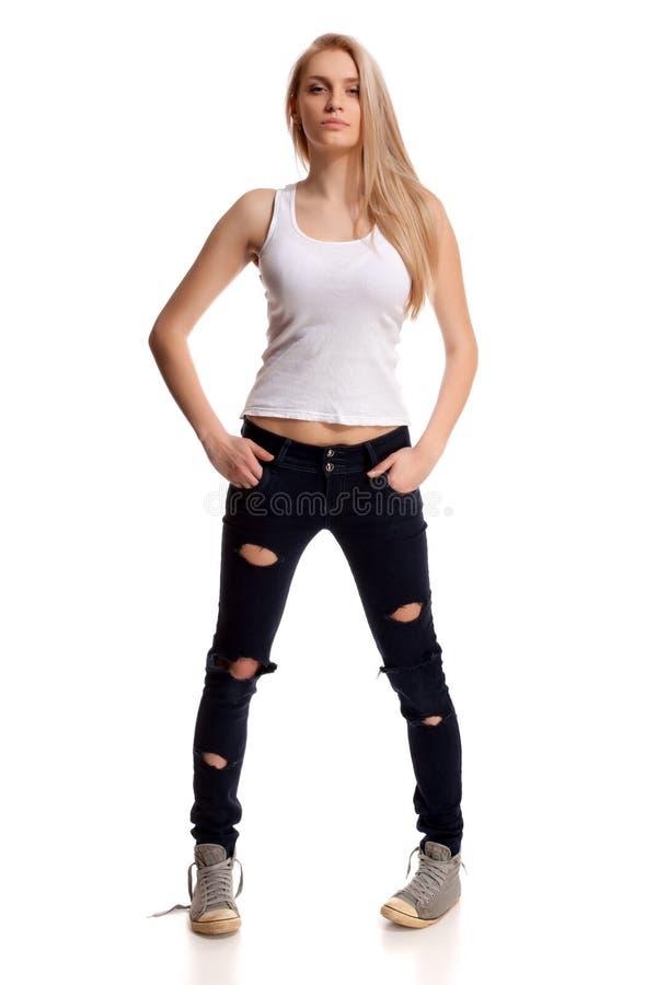 Portrait of blond teenage royalty free stock image