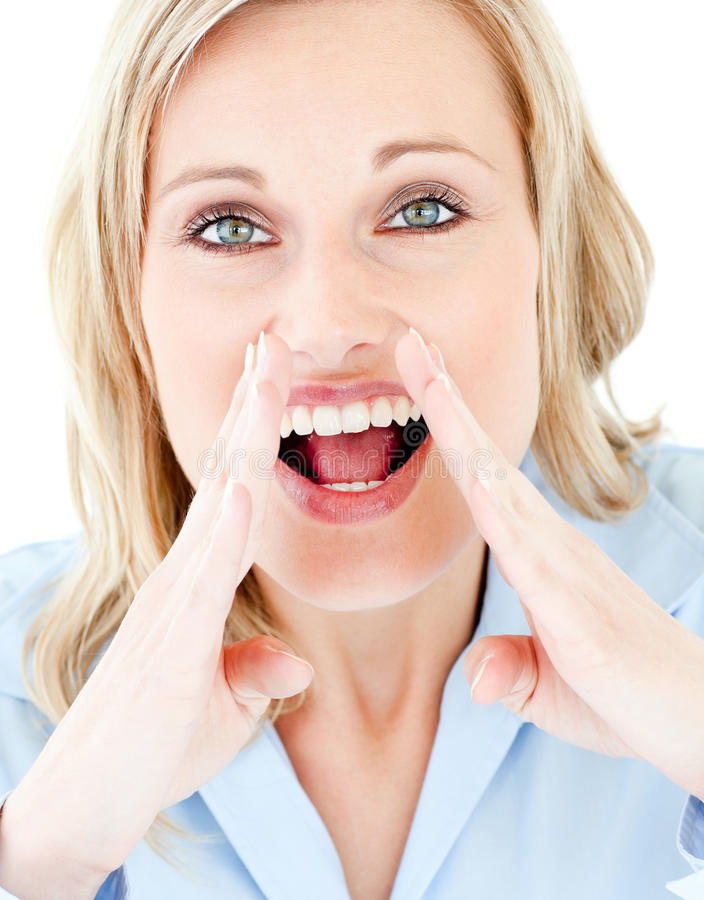 Download Portrait Of A Blond Woman Shouting At The Camera Stock Photos - Image: 15438133