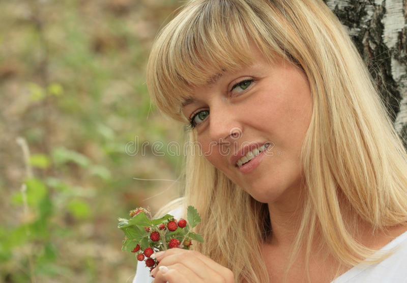 Download Portrait Of The Blonde With Berries Stock Image - Image: 14850209