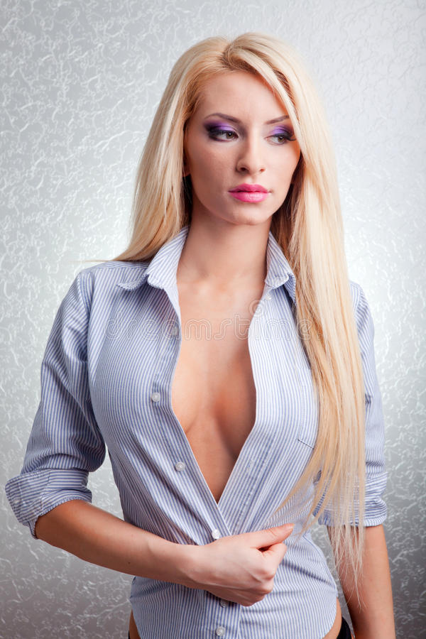 Portrait of blonde female model stock images