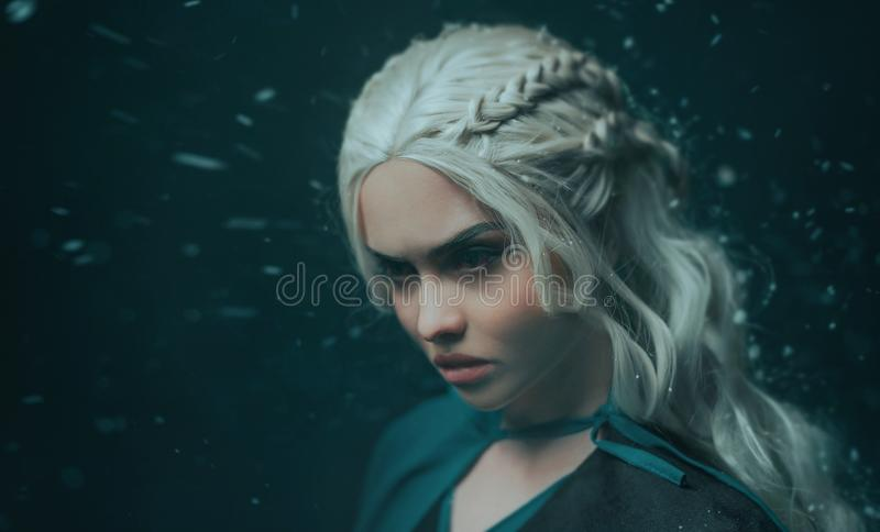 Portrait of a blonde girl close up. Background dark with flying snow, ash. White hair with creative braiding. Emotions royalty free stock photography
