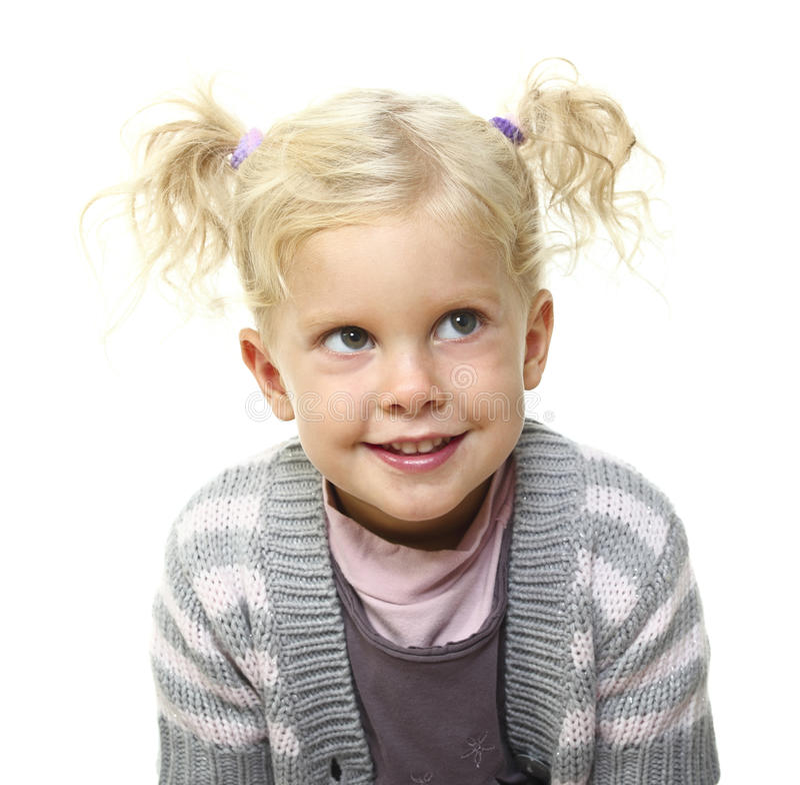 Portrait of blonde kid stock photo