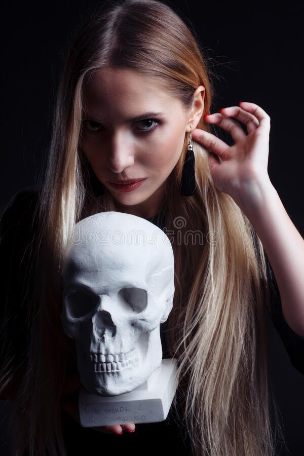 Portrait of a blonde with long hair royalty free stock image