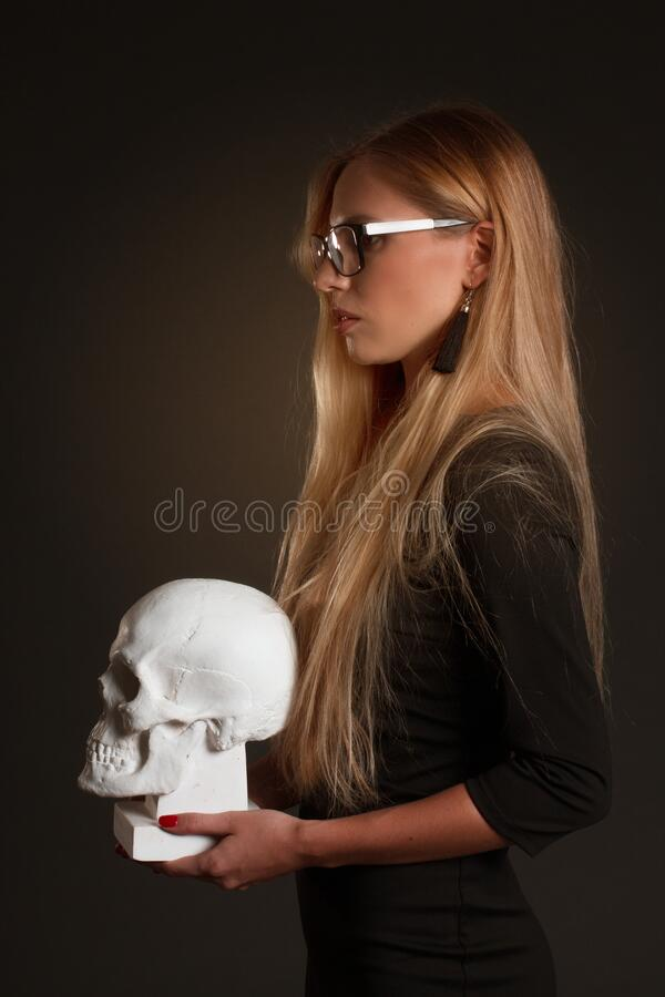 Portrait of a blonde with long hair stock images