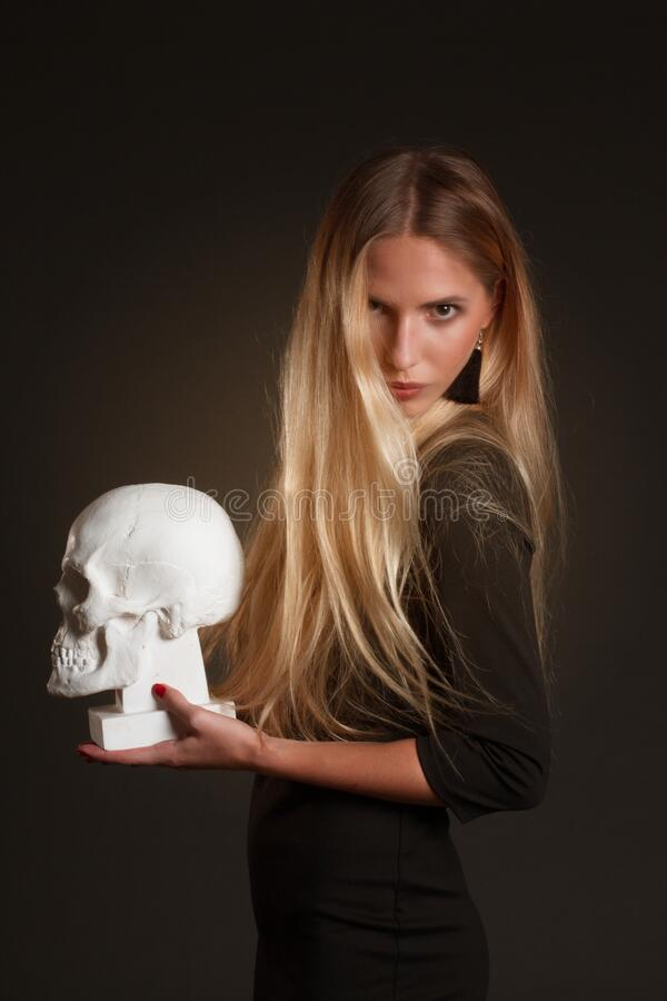 Portrait of a blonde with long hair stock photos