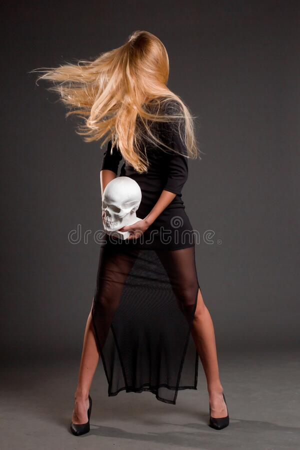 Portrait of a blonde with long hair stock photo