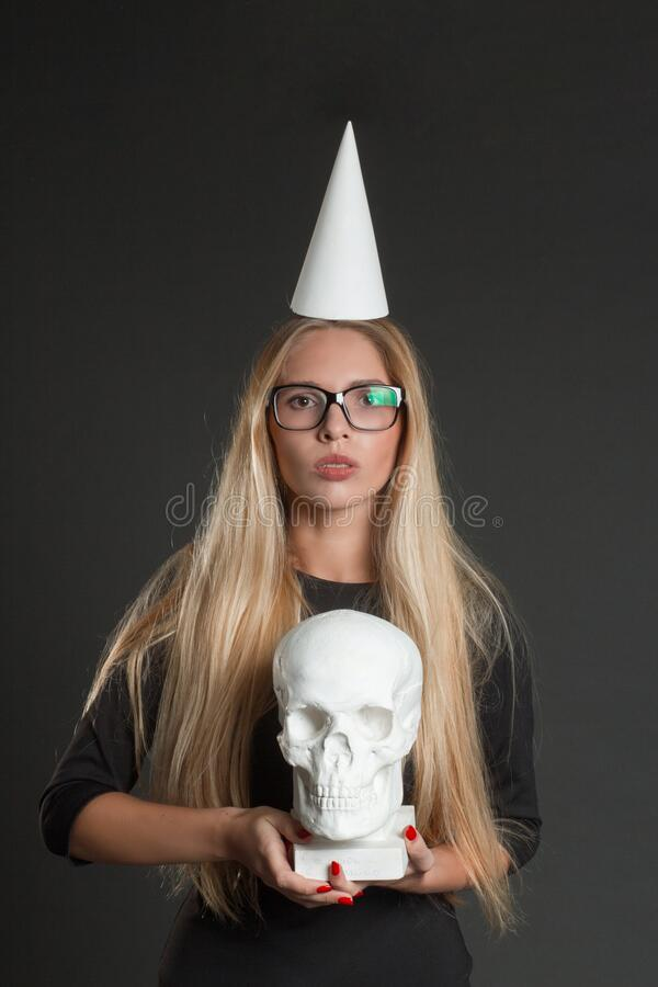 Portrait of a blonde with long hair stock image