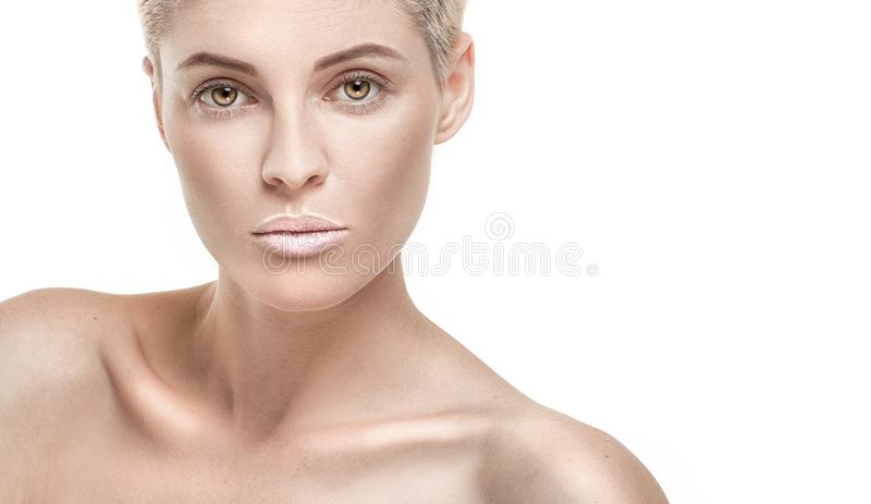 Portrait of blonde natural girl in studio. royalty free stock photos