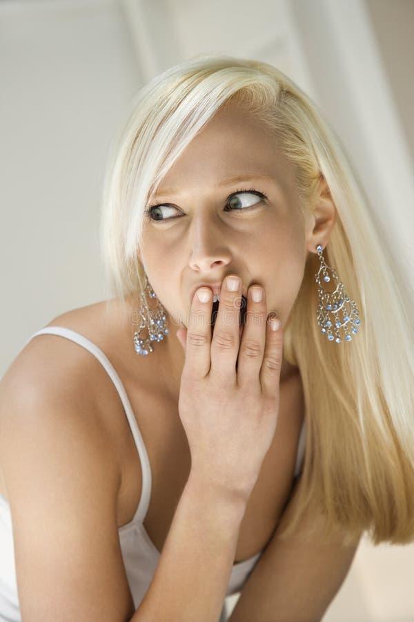 Portrait of blonde woman. stock photos