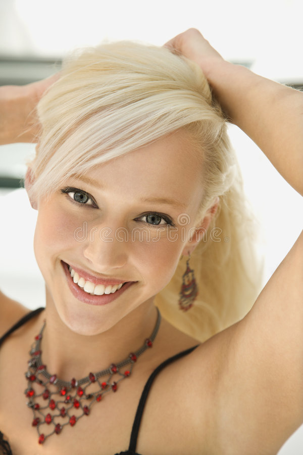 Portrait of blonde woman. royalty free stock image