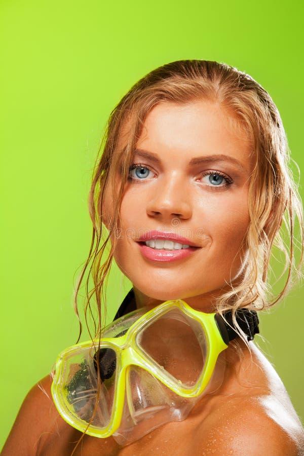 Portrait of blue-eyed snorkeler royalty free stock photo