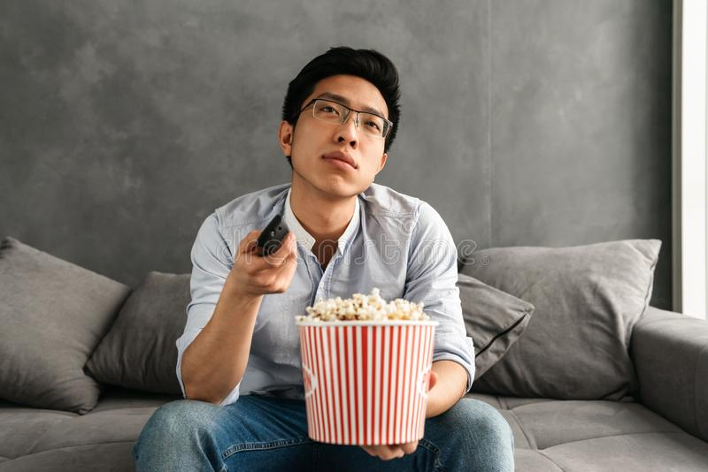 Portrait of a bored young asian man stock photo