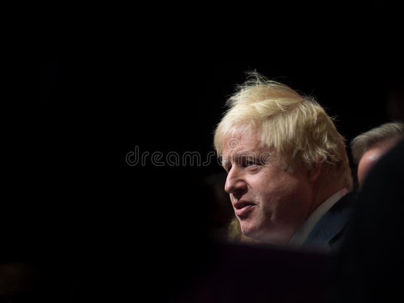 A portrait of Boris Johnson, the UK Prime Minister on simple background. A portrait of Boris Johnson, Prime Minister of the United Kingdom giving a speech on stock photo