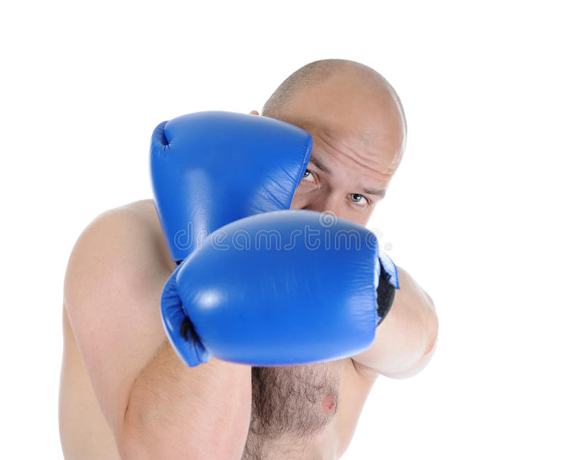 Portrait of a boxer close. royalty free stock photography